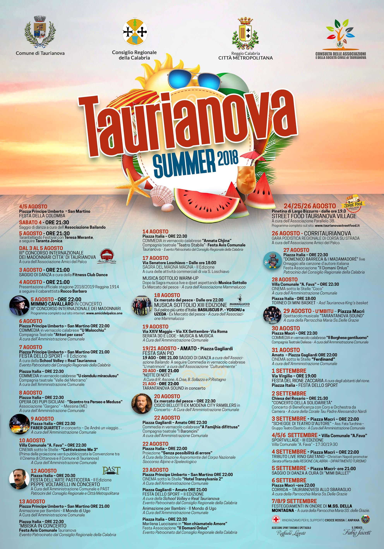 Calendario Concerti Calabria.Taurianova Summer 2018 Tutti Gli Eventi In Programma